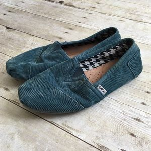 TOMS Teal Blue Corduroy Slip On Loafers Shoes
